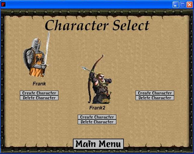 Eternal Wars: Character selection